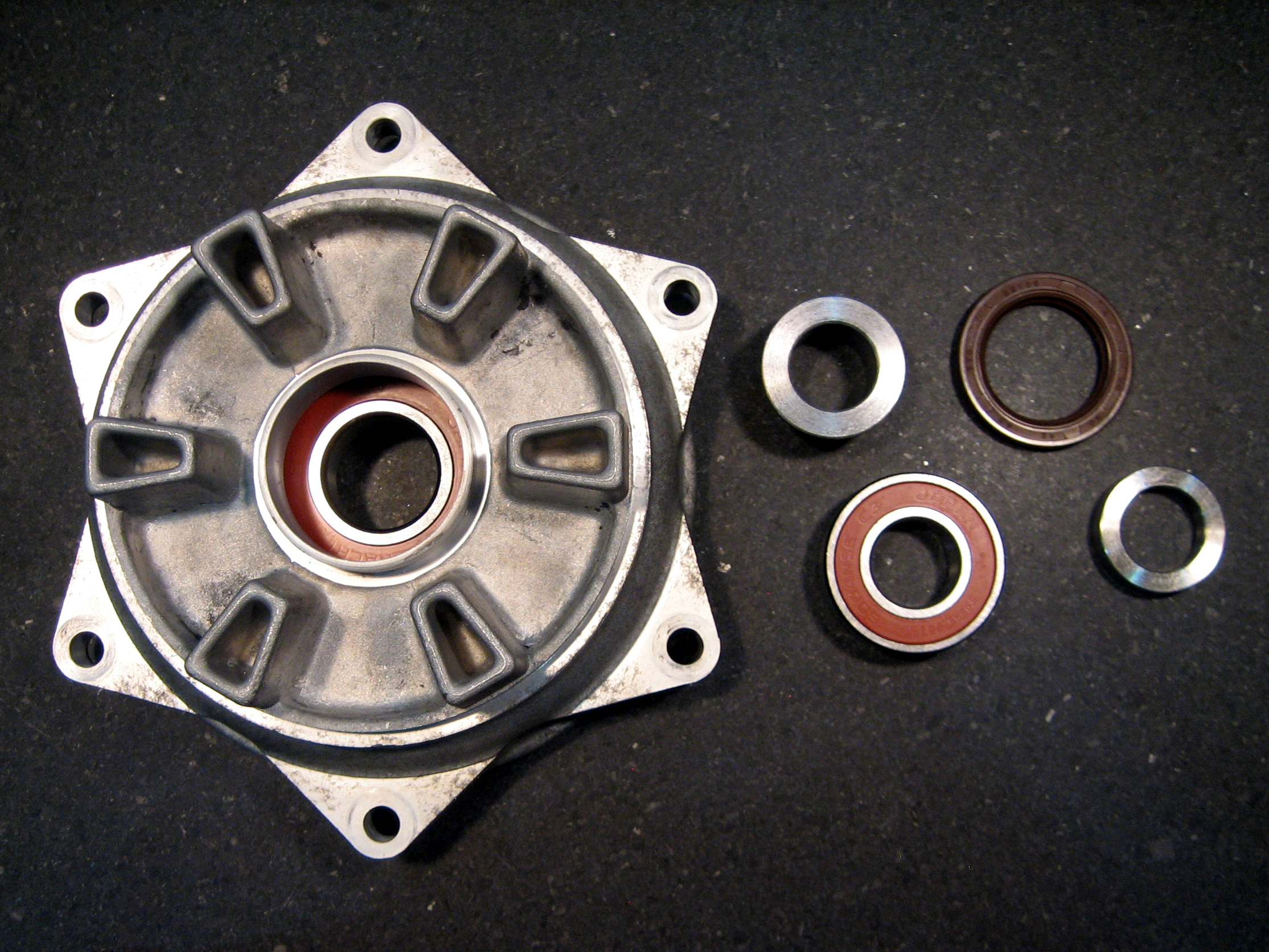 1996 and later DR650SE sprocket hub dual bearing upgrade prior to installation of inner bearing