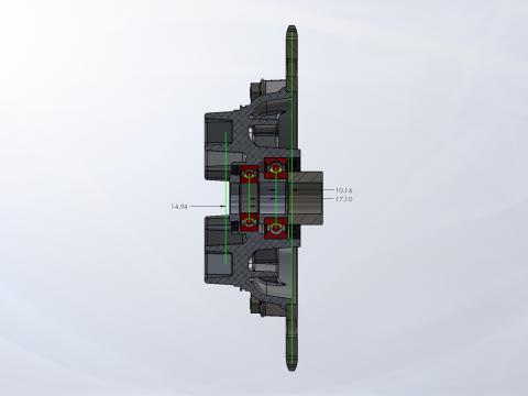 Modified Stock Sprocket Hub Cross-Section