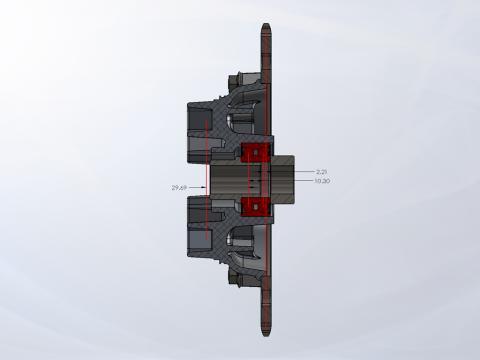 Double-Row Bearing Sprocket Hub Cross-Section