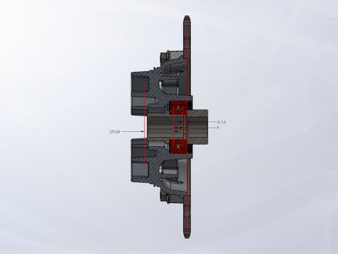 Narrow Double-Row Bearing Sprocket Hub Cross-Section
