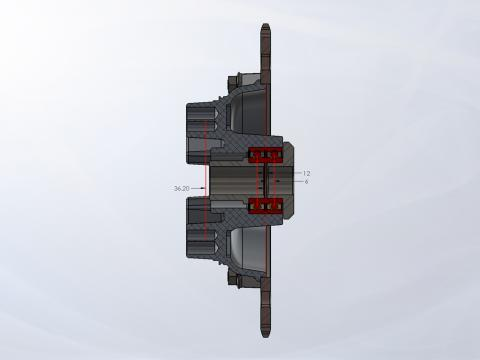 Stacked Bearing Sprocket Hub Cross-Section